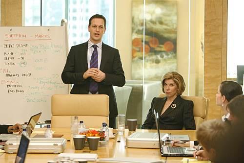 Josh Charles and Christine Baranski as Will Gardner and Diane Lockhart respectively