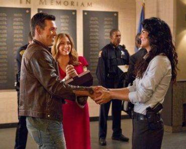 Rizzoli & Isles, guest star Eddi Cibrian, and stars Sasha Alexander and Angie Harmon