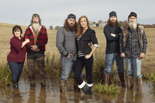 Miss Kay, Phil, Willie, Korie, Jase and Si Robertson (from left)