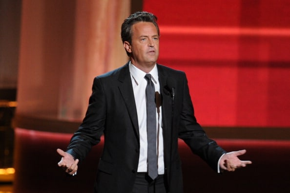 LOS ANGELES, CA - SEPTEMBER 23: Actor Matthew Perry speaks onstage during the 64th Annual Primetime Emmy Awards at Nokia Theatre L.A. Live on September 23, 2012 in Los Angeles, California. (Photo by Kevin Winter/Getty Images)