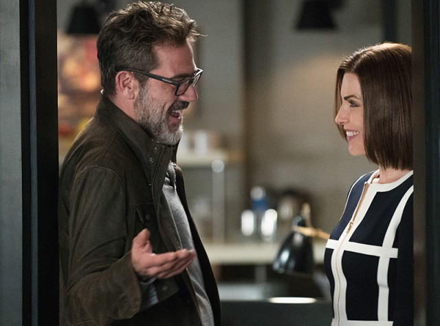 """""""Monday"""" -- Alicia has trouble adjusting when she returns to work at Lockhart, Agos & Lee with Lucca. Their first case, involving a secret new computer tablet, causes a rift within the firm, on THE GOOD WIFE, Sunday, Feb. 14 (9:00-10:00 PM, ET/PT) on the CBS Television Network. Pictured Jeffrey Dean Morgan as Jason Crouse and Julianna Margulies as Alicia Florrick Photo: Michael Parmelee/CBS ©2015 CBS Broadcasting, Inc. All Rights Reserved"""