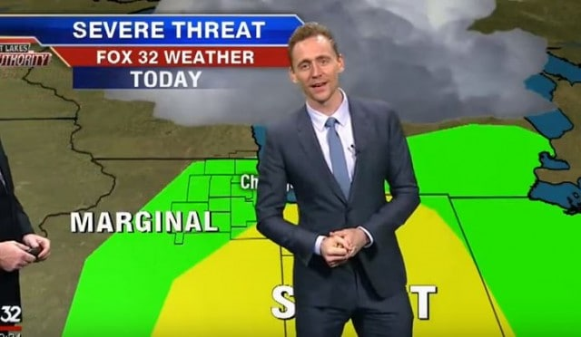 Tom Hiddleston Gives Weather Report Blames Thor For Storms On Chicago News Station