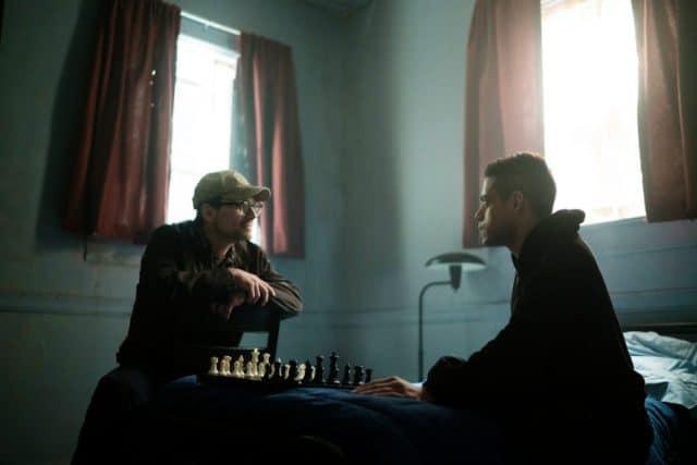 "MR. ROBOT -- ""eps2.2_init_1.asec"" Episode 204 -- Pictured: (l-r) Christian Slater as Mr. Robot, Rami Malek as Elliot Alderson -- (Photo by: Peter Kramer/USA Network)"