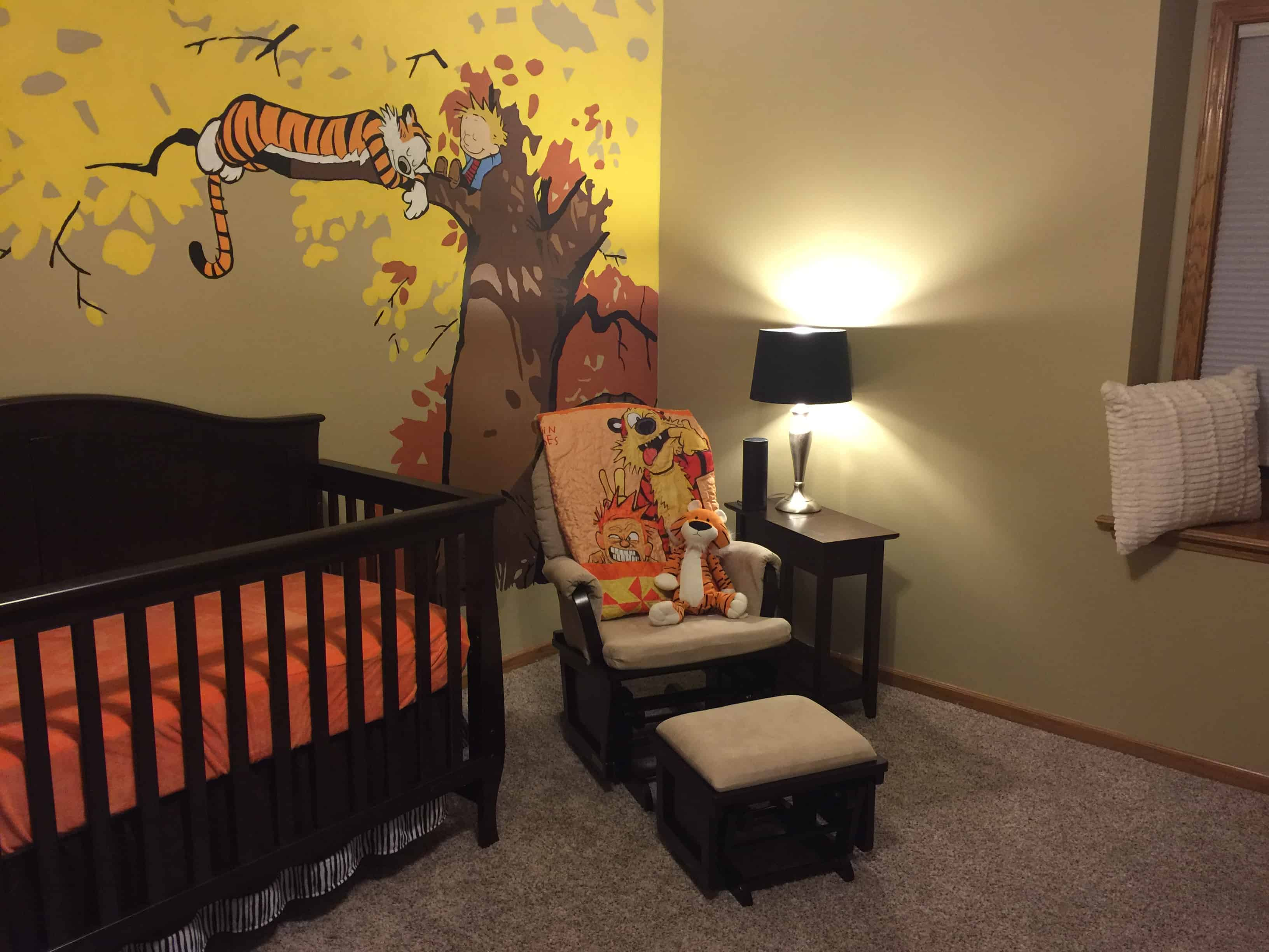Guy Makes A Calvin And Hobbes Themed Nursery With Painted Mural