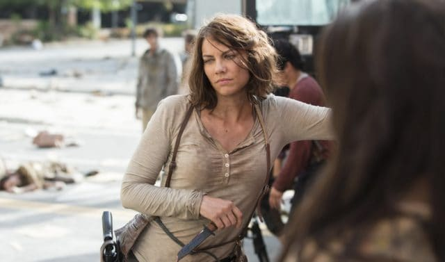 Maggie from The Walking Dead holding a knife