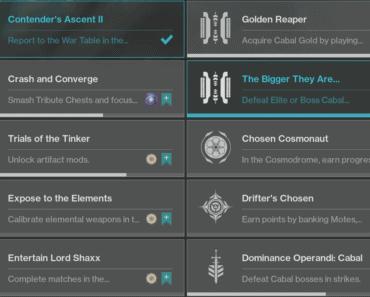 Week 2 seaonal challenges Destiny 2