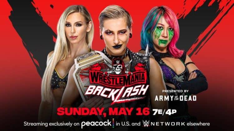 WWE WrestleMania Backlash 2021 Rhea Ripley Asuka Charlotte Flair Key Art